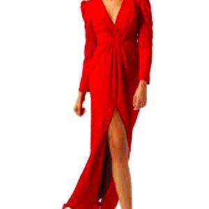 Selina designer small split front v neck maxi gown